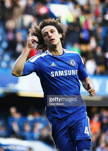 David Luiz of Chelsea celebrates scoring during the Barclays Premier League match between Chelsea and Bolton Wanderers at Stamford Bridge on February...