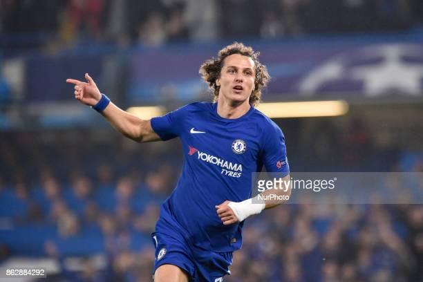David Luiz of Chelsea celebrates scoring first goal during the UEFA Champions League match between Chelsea v AS Roma at Stamford Bridge Stadium...