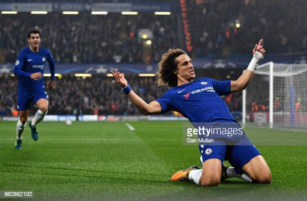 David Luiz of Chelsea celebrates scoring his sides first goal during the UEFA Champions League group C match between Chelsea FC and AS Roma at...