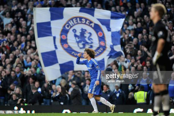 David Luiz of Chelsea celebrates scoring the opening goal during the Barclays Premier League match between Chelsea and Manchester City at Stamford...