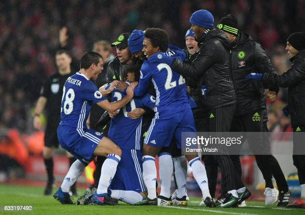 David Luiz of Chelsea celebrates scoring the opening goal with Antonio Conte Manager of Chelsea and team mates during the Premier League match...