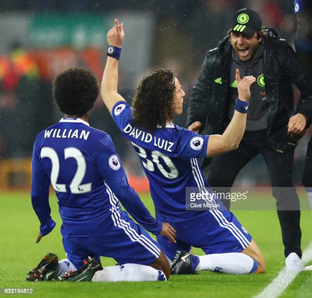 David Luiz of Chelsea celebrates scoring the opening goal with his team mate Willian and manager Antonio Conte during the Premier League match...