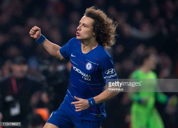 David Luiz of Chelsea celebrates scoring the winning penalty during the Carabao Cup SemiFinal Second Leg match between Chelsea and Tottenham Hotspur...