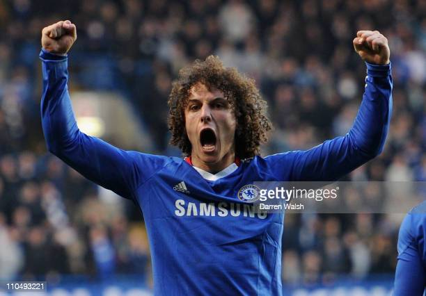 David Luiz of Chelsea celebrates victory during the Barclays Premier League match between Chelsea and Manchester City at Stamford Bridge on March 20...