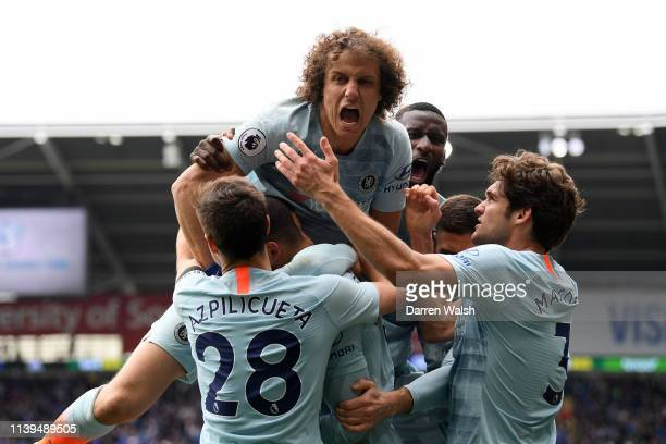 David Luiz of Chelsea celebrates with Cesar Azpilicueta of Chelsea and teammates after Ruben LoftusCheek of Chelsea scores his sides second goal...