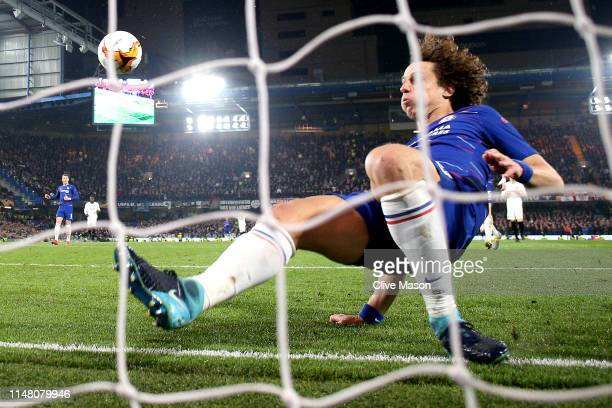 David Luiz of Chelsea clears the ball off the line during the UEFA Europa League Semi Final Second Leg match between Chelsea and Eintracht Frankfurt...
