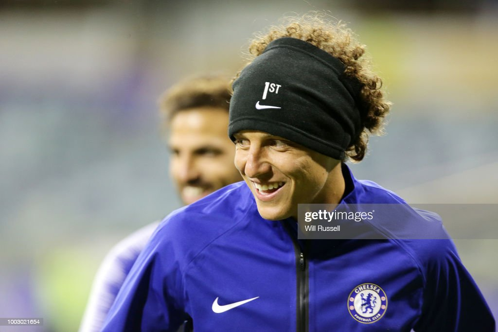 David Luiz of Chelsea during a Chelsea FC training session at The WACA on July 21, 2018 in Perth, Australia.