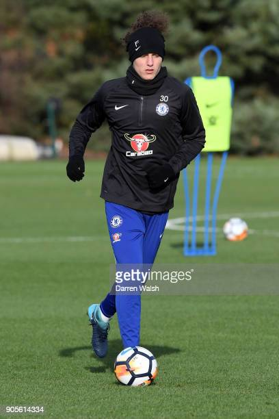 David Luiz of Chelsea during a training session at Chelsea Training Ground on January 16 2018 in Cobham England