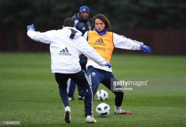 David Luiz of Chelsea during a training session at the Cobham training ground on March 18, 2011 in Cobham, England.
