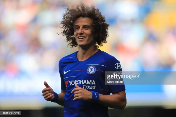 David Luiz of Chelsea during the Premier League match between Chelsea FC and Cardiff City at Stamford Bridge on September 15 2018 in London United...