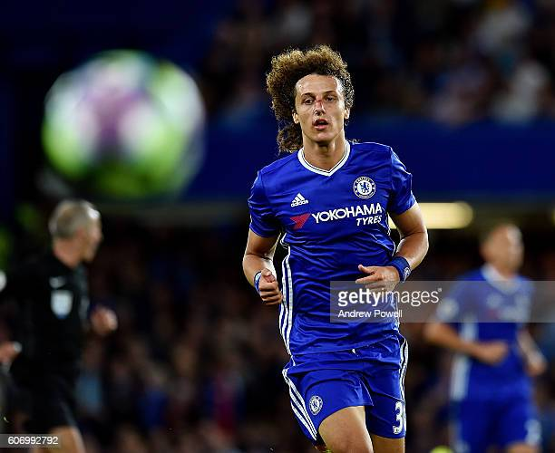 David Luiz of Chelsea during the Premier League match between Chelsea and Liverpool at Stamford Bridge on September 16 2016 in London England