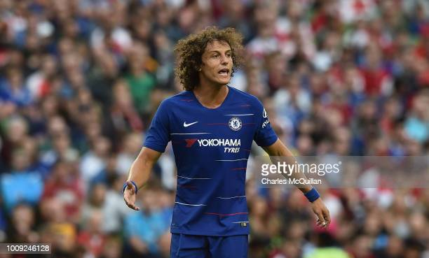 David Luiz of Chelsea during the Preseason friendly International Champions Cup game between Arsenal and Chelsea at Aviva stadium on August 1 2018 in...