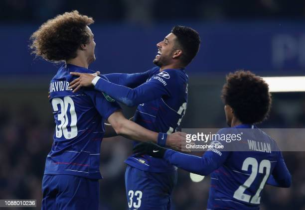 David Luiz of Chelsea Emerson Palmieri of Chelsea and Willian of Chelsea celebrate after winning on penalties during the Carabao Cup SemiFinal Second...