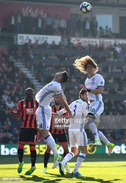David Luiz of Chelsea heads towards goal during the Premier League match between AFC Bournemouth and Chelsea at Vitality Stadium on April 8 2017 in...