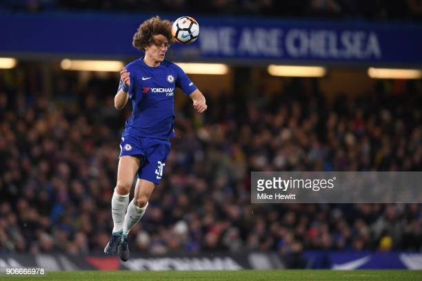 David Luiz of Chelsea in action during The Emirates FA Cup Third Round Replay between Chelsea and Norwich City at Stamford Bridge on January 17 2018...