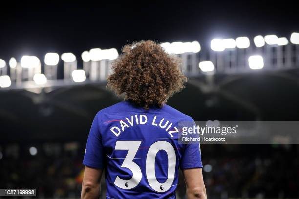David Luiz of Chelsea in action during the Premier League match between Watford FC and Chelsea FC at Vicarage Road on December 26 2018 in Watford...