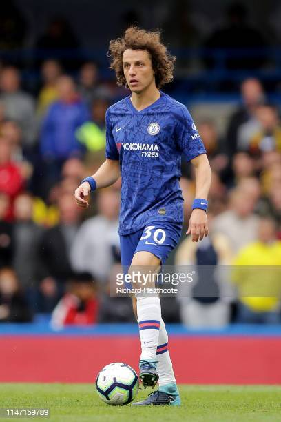 David Luiz of Chelsea in action during the Premier League match between Chelsea FC and Watford FC at Stamford Bridge on May 05 2019 in London United...