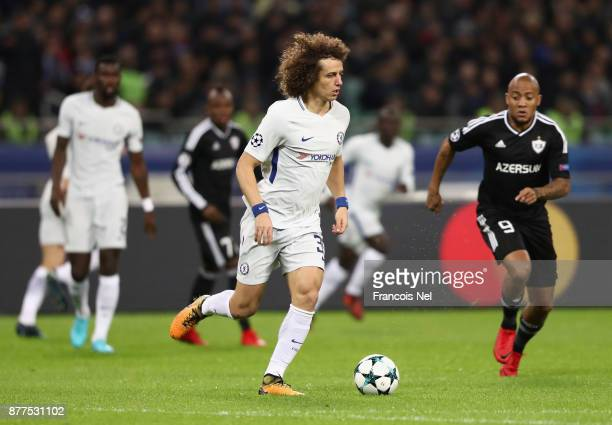 David Luiz of Chelsea in action during the UEFA Champions League group C match between Qarabag FK and Chelsea FC at Baki Olimpiya Stadionu on...