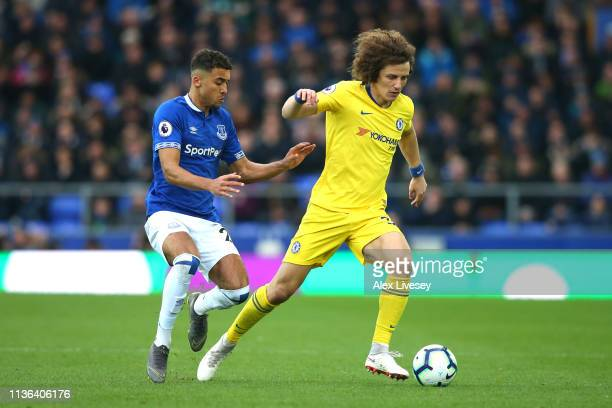 David Luiz of Chelsea is closed down by Dominic CalvertLewin of Everton during the Premier League match between Everton FC and Chelsea FC at Goodison...