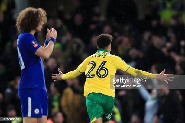 David Luiz of Chelsea looks dejected as Jamal Lewis of Norwich celebrates after scoring their 1st goal during The Emirates FA Cup Third Round Replay...