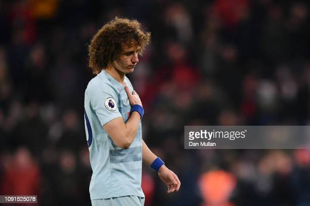 David Luiz of Chelsea looks dejected during the Premier League match between AFC Bournemouth and Chelsea FC at Vitality Stadium on January 29 2019 in...