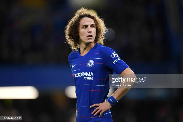 David Luiz of Chelsea looks on during the Premier League match between Chelsea FC and Manchester City at Stamford Bridge on December 8, 2018 in...