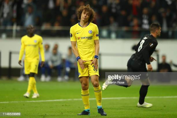 David Luiz of Chelsea reacts as Luka Jovic of Eintracht Frankfurt scores his team's first goal during the UEFA Europa League Semi Final First Leg...