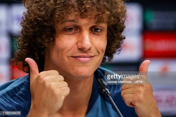 David Luiz of Chelsea reacts during press conference ahead of the UEFA Europa League Final between Chelsea and Arsenal at Baku Olimpiya Stadionu on...