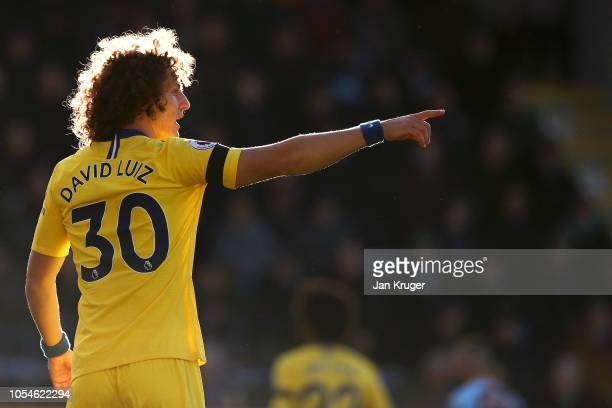 David Luiz of Chelsea reacts during the Premier League match between Burnley FC and Chelsea FC at Turf Moor on October 28 2018 in Burnley United...