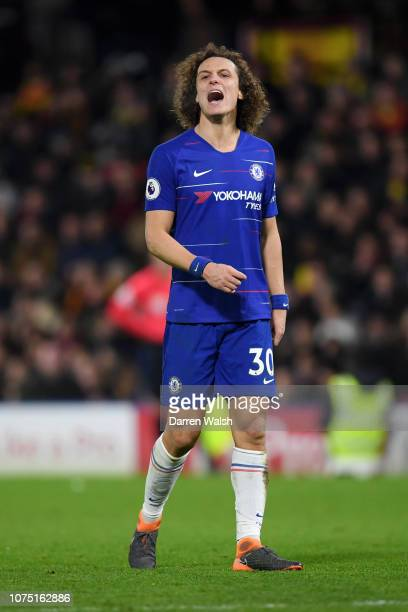David Luiz of Chelsea reacts during the Premier League match between Watford FC and Chelsea FC at Vicarage Road on December 26 2018 in Watford United...