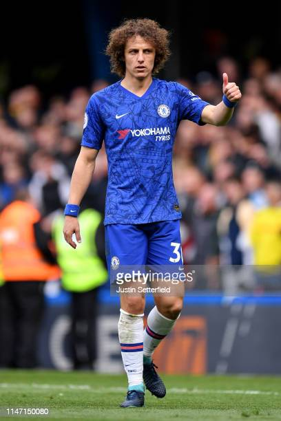 David Luiz of Chelsea reacts during the Premier League match between Chelsea FC and Watford FC at Stamford Bridge on May 05 2019 in London United...