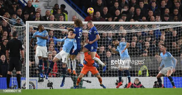 David Luiz of Chelsea scores his team's second goal during the Premier League match between Chelsea FC and Manchester City at Stamford Bridge on...