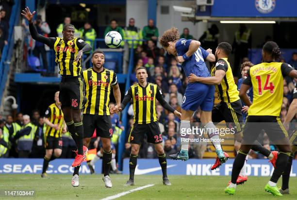 David Luiz of Chelsea scores his team's second goal during the Premier League match between Chelsea FC and Watford FC at Stamford Bridge on May 05...