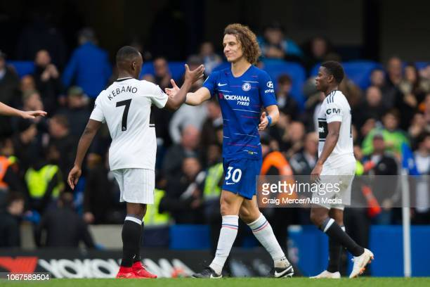 David Luiz of Chelsea shakes hands with Neeskens Kebano of Fulham after the Premier League match between Chelsea FC and Fulham FC at Stamford Bridge...