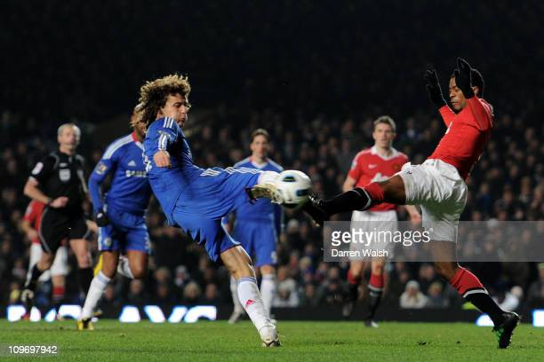 David Luiz of Chelsea shoots to score an equalising goal during the Barclays Premier League match between Chelsea and Manchester United at Stamford...