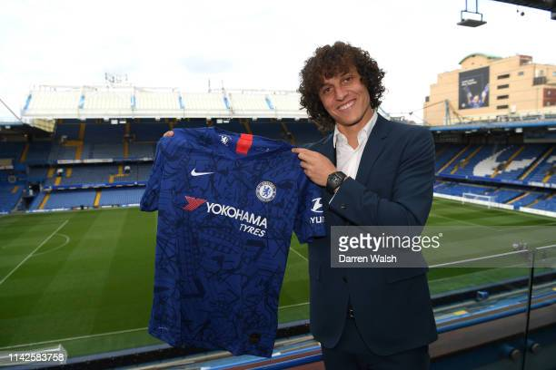 David Luiz of Chelsea signs a contract extension with Chelsea FC at Stamford Bridge on May 10, 2019 in London, England.