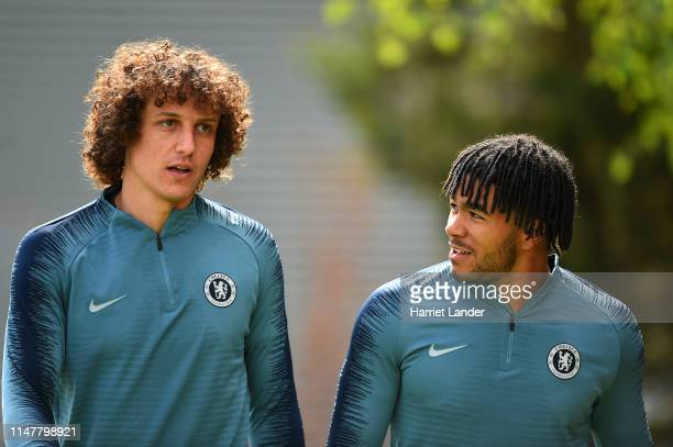 David Luiz of Chelsea walks out with Reece James of Chelsea to train during the Chelsea Training Session on the eve of their UEFA Europa League semi...