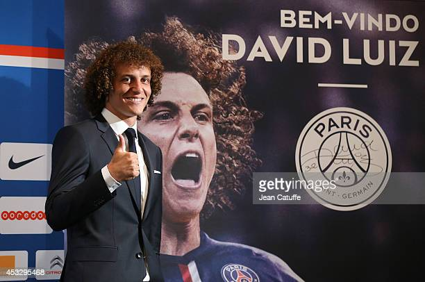 David Luiz of Paris SaintGermain answers to the media during his official presentation after signing for PSG at The Peninsula Hotel on August 7 2014...