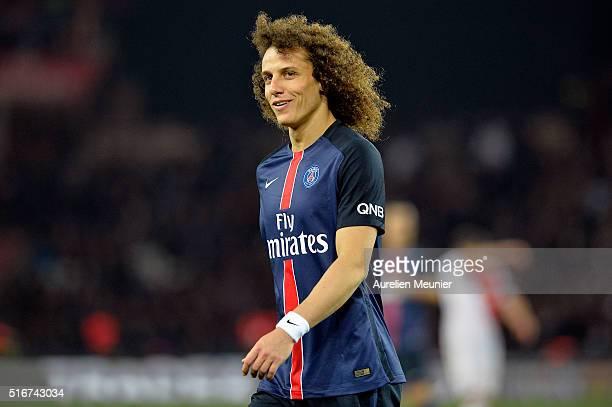 David Luiz of Paris SaintGermain reactsl during the French Ligue 1 match between Paris SaintGermain and AS Monaco at Parc des Princes on March 20...