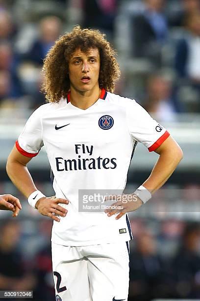 David Luiz of Paris SG during the French Ligue 1 match between FC Girondins de Bordeaux and Paris SaintGermain at Nouveau Stade de Bordeaux on May 11...