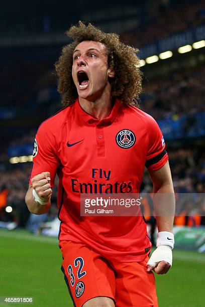 David Luiz of PSG celebrates after scoring a goal to level the scores at 1-1 during the UEFA Champions League Round of 16, second leg match between...