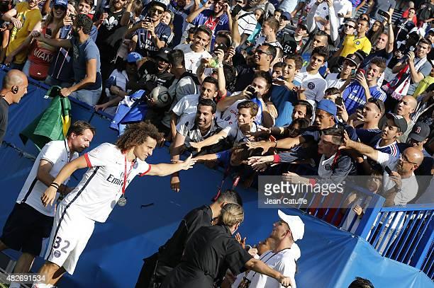 David Luiz of PSG greets fans after winning the 2015 Trophee des Champions between Paris SaintGermain and Olympique Lyonnais at Stade Saputo on...