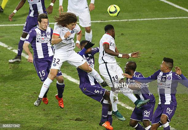 David Luiz of PSG in action during the French League 1 match between Toulouse FC and Paris SaintGermain at Stadium Municipal on January 16 2016 in...