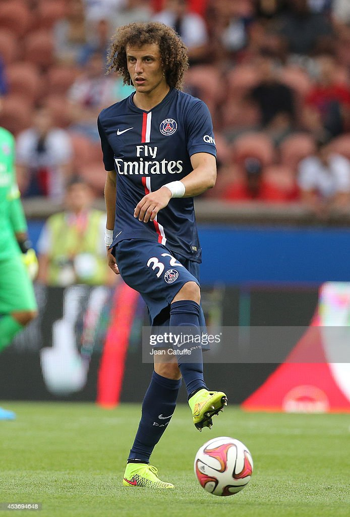 David Luiz of PSG in action during the French Ligue 1 match between Paris Saint Germain FC and SC Bastia at Parc des Princes stadium on August 16, 2014 in Paris, France.