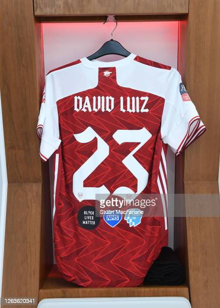 David Luiz shirt in the Arsenal changing room before the FA Cup Final match between Arsenal and Chelsea at Wembley Stadium on August 01 2020 in...