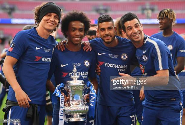 David Luiz Willian and Emerson Palmieri of Chelsea pose with the Emirates FA Cup Trophy following their sides victoy in The Emirates FA Cup Final...