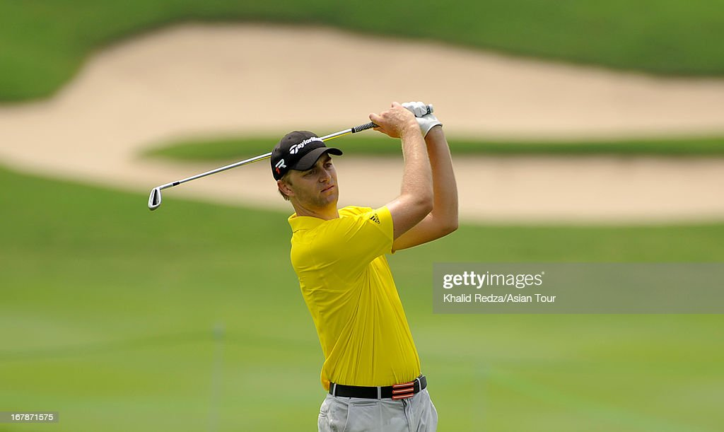 David Lutterus of Australia plays a shot during round one of the Indonesian Masters at Royale Jakarta Golf Club on May 2, 2013 in Jakarta, Indonesia.