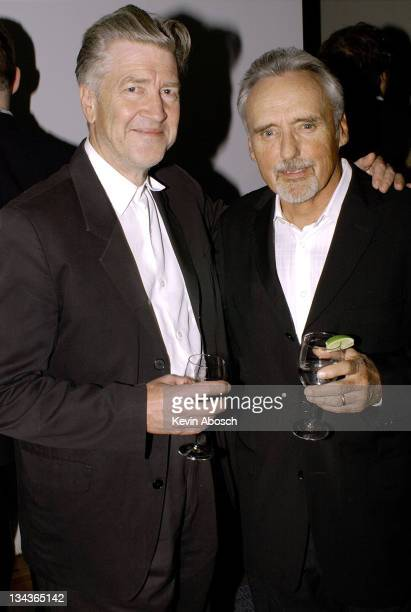 David Lynch and Dennis Hopper during Dennis Hopper and Kelly Lynch Host the CineVegas Film Festival Party at Chateau Marmont in Hollywood California...