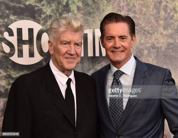David Lynch and Kyle MacLachlan attend the premiere of Showtime's 'Twin Peaks' at The Theatre at Ace Hotel on May 19 2017 in Los Angeles California