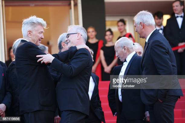 David Lynch Director of the Cannes Film Festival Thierry Fremaux Jerry Schatzberg and Laurent Cantet attend the 70th Anniversary of the 70th annual...